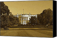 Us Capital Mixed Media Canvas Prints - White House - Washington Canvas Print by Peter Art Prints Posters Gallery
