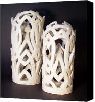Wheel Thrown Canvas Prints - White Interlaced Sculptures Canvas Print by Carolyn Coffey Wallace