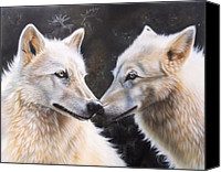 Wolf Painting Canvas Prints - White Magic Canvas Print by Sandi Baker