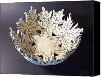 Stoneware Canvas Prints - White Maple Leaf Bowl Canvas Print by Carolyn Coffey Wallace