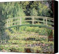 Water Lily Canvas Prints - White Nenuphars Canvas Print by Claude Monet 