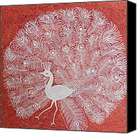 Handmade Paper Canvas Prints - White Peacock Dance- Original Warli Painting Canvas Print by Aboli Salunkhe