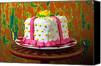 Cake-stand Canvas Prints - White present cake Canvas Print by Garry Gay
