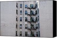 Nyc Fire Escapes Canvas Prints - White  Canvas Print by Rob Hans