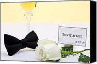 Black Tie Photo Canvas Prints - White rose bow tie and invitation. Canvas Print by Richard Thomas