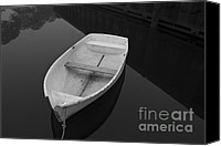 Dock Canvas Prints - White Rowboat Canvas Print by Dave Gordon