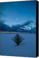 Cloud Canvas Prints - White Sands Moonrise Canvas Print by Steve Gadomski