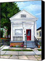 Red Door Canvas Prints - White Shotgun House Canvas Print by Elaine Hodges