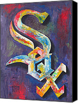Major Mixed Media Canvas Prints - WHITE SOX Portrait Canvas Print by Dan Haraga