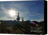Sky Canvas Prints - White Tank Sunset 2 Canvas Print by Methune Hively