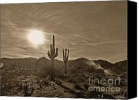 2hivelys Art Canvas Prints - White Tanks Sunset 2 Sepia Canvas Print by Methune Hively