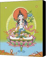 Tantrayana Canvas Prints - White Tara Canvas Print by Carmen Mensink