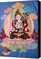 Thangka Canvas Prints - White Tara Canvas Print by Leslie Rinchen-Wongmo