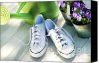 Tennis Canvas Prints - White tennis running shoes Canvas Print by Sandra Cunningham