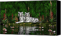 Bigcat Canvas Prints - White Tigers Canvas Print by Walter Colvin