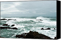 Mendocino Coast Canvas Prints - White Wild Water Canvas Print by Lorraine Devon Wilke