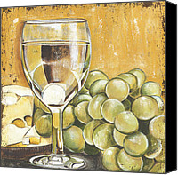 Swiss Canvas Prints - White Wine And Cheese Canvas Print by Debbie DeWitt