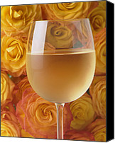 Floral Canvas Prints - White wine and yellow roses Canvas Print by Garry Gay