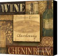 Winery Canvas Prints - White Wine Collage Canvas Print by Grace Pullen