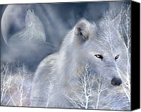 Animal Art Mixed Media Canvas Prints - White Wolf Canvas Print by Carol Cavalaris