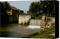 Metamora Canvas Prints - Whitewater Canal Locks Metamora Indiana Canvas Print by Gary Wonning