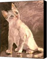 Oil Cat  Canvas Prints - Whole Lotta Lovin Canvas Print by Susan A Becker