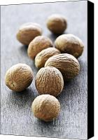 Spice Canvas Prints - Whole nutmeg seeds Canvas Print by Elena Elisseeva
