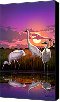 Tropical Sunset Canvas Prints - Whooping Cranes Tropical Florida Everglades Sunset birds landscape scene purple pink print Canvas Print by Walt Curlee
