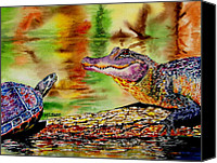 Gator Canvas Prints - Whos for Lunch Canvas Print by Maria Barry