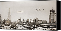 Bi Planes Canvas Prints - Wide Angle Panorama With Two Airplanes Canvas Print by Everett