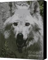 Wolf Photo Shot Canvas Prints - Wide Eyes Vision Canvas Print by Debra     Vatalaro