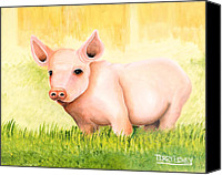 Pot-bellied Pig Canvas Prints - Wilber Canvas Print by Terry Lewey