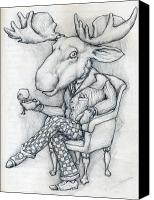 Featured Drawings Canvas Prints - WilcoxMoose Canvas Print by Alexander M Petersen