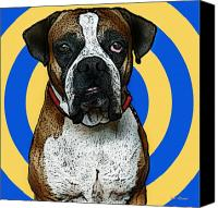 Boxer Dog Canvas Prints - Wild Boxer 1 Canvas Print by Bibi Romer