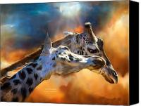 Giraffes Canvas Prints - Wild Dreamers Canvas Print by Carol Cavalaris