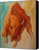 Bison Canvas Prints - Wild Fury Canvas Print by Theresa Paden