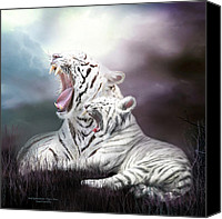 Animal Mixed Media Canvas Prints - Wild Generations - Tigers Roar Canvas Print by Carol Cavalaris