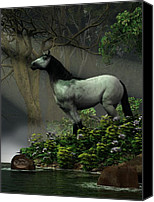 Wild Stallion Canvas Prints - Wild Horse in the Forest Canvas Print by Daniel Eskridge
