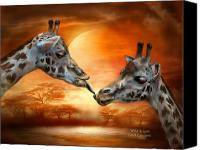 The Art Of Carol Cavalaris Mixed Media Canvas Prints - Wild Kisses Canvas Print by Carol Cavalaris