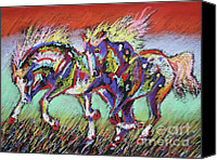 Wild Horse Pastels Canvas Prints - Wild Pastel Ponies Canvas Print by Louise Green