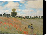 Monet Painting Canvas Prints - Wild Poppies near Argenteuil Canvas Print by Claude Monet