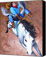 Cowboy Art Painting Canvas Prints - Wild Ride Canvas Print by Tanja Ware