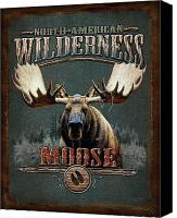 Moose Canvas Prints - Wilderness Moose Canvas Print by JQ Licensing