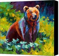 Denali Canvas Prints - Wildflower Grizz Canvas Print by Marion Rose