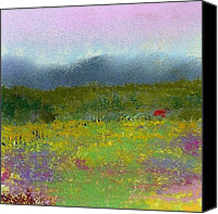 Landscapes Pastels Canvas Prints - Wildflowers Canvas Print by David Patterson