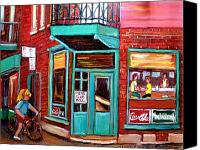 Resto Cafes Canvas Prints - Wilenskys Cafe On Fairmount In Montreal Canvas Print by Carole Spandau