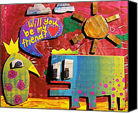 Critters Mixed Media Canvas Prints - Will you be my Friend Canvas Print by Nancy Mitchell
