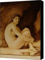 Nude Pyrography Canvas Prints - William Bouguereau Seated Nude  Canvas Print by Jo Schwartz