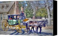 Horse Carriage Canvas Prints - Williamsburg Canvas Print by Mitch Cat