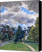 Abstract Realist Landscape Canvas Prints - Williamstown Cloudy Canvas Print by Thor Wickstrom